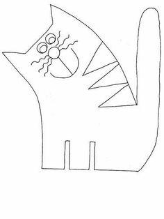 Felt cat pattern – And lovely Zentangle outline :) Cat Template, Applique Templates, Applique Patterns, Applique Designs, Quilt Patterns, Sewing Patterns, Loom Patterns, Wool Applique, Embroidery Applique