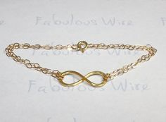 Gold Infinity Bracelet Hammered 14K Gold Filled by FabulousWire