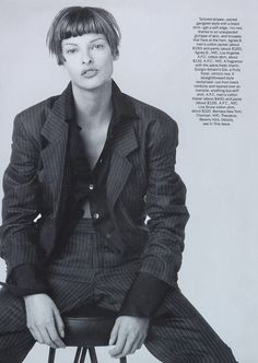 """Linda Evangelista sporting """" Suits without the Starch, """" shot by Steven Meisel for US VOGUE May 1993 