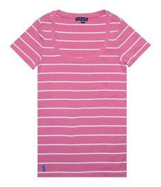 $14.95 - Ralph Lauren Women's Ribbed Cotton Stripe Knit Tee Pink/White # ralphlauren