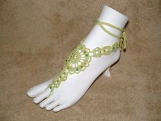 Barefoot Sandal  Wasabi Green with Beads by gilmoreproducts33, $17.00