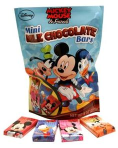 Delicious Frankford mini chocolate bars. Individually wrapped. Assorted Disney designs featuring: Mickey Mouse, Donald Duck, Minnie Mouse & Pluto. Ideal for favor bags, kids parties and piñatas!
