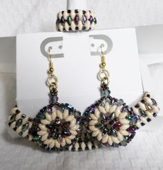 matching set beaded earrings ring and bracelet