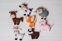 This cute farm stuffed animals are made from eco-friendly felt and is entirely hand cut and sewn. Stuffed with holofayber (hypoallergenic). It fits beautifully in the babys hands and makes a great baby shower or christening gift. Also will be cool gift for children from 0-4 years for