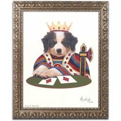 Trademark Fine Art 'King Of Diamonds' Canvas Art by Jenny Newland, Gold Ornate Frame, Size: 11 x 14, Assorted