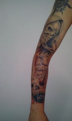 hand tattoo skull blue rose demon