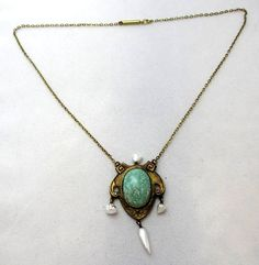 Turn of the Century Jewelry: Antique Turquoise and American Freshwater Pearl Necklace