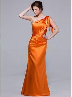 Trumpet/Mermaid One-Shoulder Floor-Length Charmeuse Bridesmaid Dress With Cascading Ruffles (007037254) - JJsHouse
