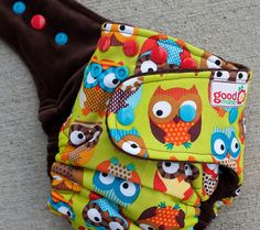 Goodmama One Size Fitted- Whoo Hoo One-Size Fitted Diaper with CV.