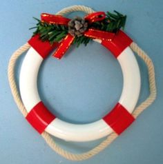 "nautical christmas ornaments | Christmas Ornament 4"" Life Ring Ornament New"