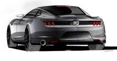 """Este desenho propôs o acentuamento do tema do """"T"""" invertido na traseira, estreitamento das lanternas e da tradicional faixa preta, além de uma grande área de envidraçamento; o Mustang resultante seria uma mistura de superesportivo de motor central com Chevrolet Camaro"""