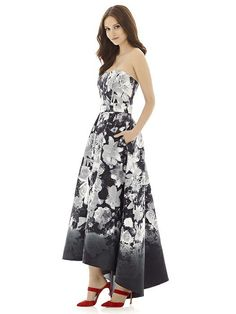 9eeb93012af51 Style D699FP from Alfred Sung is a full length strapless floral print  sateen twill bridesmaid dress. French Novelty