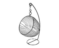 Portafrutta a sospensione in metallo argento Mel, 25x45x25 cm