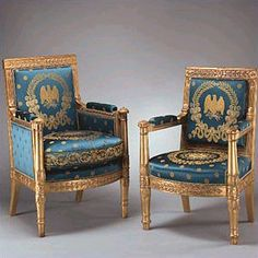A bergère and fauteuil purchased for the White House by President James Madison. The bergère was returned to the Blue Room by First Lady Pat Nixon. Two fauteuils were returned to the White House by First Lady Jacqueline Kennedy. White House Rooms, Blue Rooms, White Rooms, Custom Made Furniture, French Furniture, Antique Furniture, Empire Furniture, Bergere Chair, Armchair
