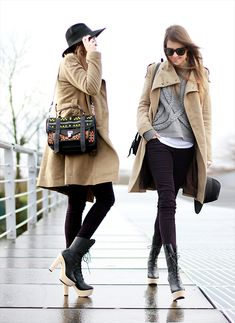 winter outfit #details #coat #tan #neutrals #accessories #handbag #bags #boots #shoes #sunglasses #hat #layers #fashion #effortless #casual #chic