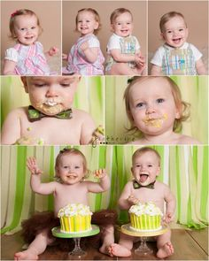 twins first birthday cake smash portrait | Greenville SC Children