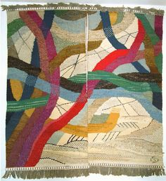 Gunta Stölzl Amden I, 1967 Wall hanging (via Gunta Stölzl - Bauhaus Master) Art Textile, Textile Artists, Textile Patterns, Textile Design, Kandinsky, Weaving Textiles, Tapestry Weaving, Pin Weaving, Johannes Itten
