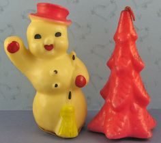Set of Two Gurley Candles, Happy Waving Snowman and Red Tree. We had these when I was younger. They really are quite ugly!