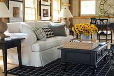 MAKE THE SOFA TAUPE THEN BLACK & TAN CHECKS/PLAID: ethanallen.com - Ethan Allen | furniture | interior design | lifestyles | vintage | living room