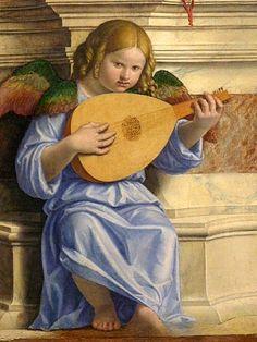 Cima da Conegliano (1459ca. – 1518ca.) San Pietro  in trono con i SS Giovanni Battista e Paolo e un angelo musicante, dettaglio, Pinacoteca di Brera, Milano