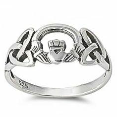 Celtic Irish Claddagh .925 Sterling Silver Ring
