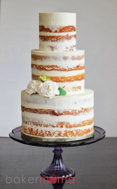 Smoothed-out naked cake - love this look