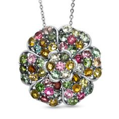 Multi-Color Tourmaline Flower Pendant in Sterling Silver