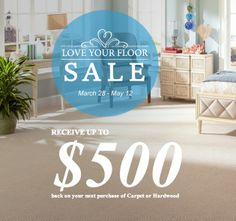 Receive up to $500 back on your purchase of carpet or hardwood flooring during Mohawk's Love Your Floor sale! Get the coupon here.