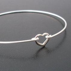 Heart Bracelet, Sterling Silver Bangle Band, Bridesmaid Jewelry, Bridesmaid Wedding Jewelry, Bridal Party, Bridesmaid Gift Bracelets. $24.95, via Etsy.