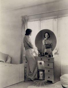 Ida Lupino 1937 loungewear found photo snapshot movie star in home bedroom pajama pants sweater knit hairstyle shoes casual sportswear beach day late 30s era