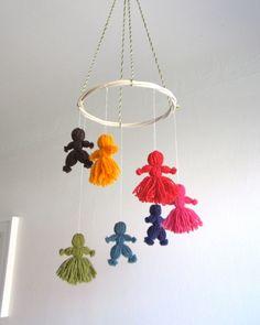 Baby mobile, dancing rainbow children mobile, baby, colorful, crib, toddler, nursery decor, multicolor. $43.00, via Etsy.