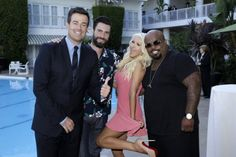 Carson Daly, a bearded Adam Levine, Christina Aguilera and CeeLo Green on NBC Press Tour for The Voice