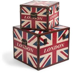 Pair of London flag box trunks ❤ liked on Polyvore