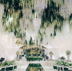 """Wedding Dream on Instagram: """"We are charmed by this enchanted forest theme wedding decoration! Major crush on the incorporation of stunning crystal chandeliers, hanging wisteria and greeneries that successfully evokes a magical and ethereal nuance to the wedding. Kudos for @shackirovajulia for transforming an indoor venue as if it was an outdoor one! Who dreams this for their wedding decoration? Yes or no? Photography @ksemenikhin via @thebridestory"""""""