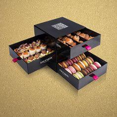 Macaroon Packaging, Food Box Packaging, Bakery Packaging, Cool Packaging, Food Packaging Design, Packaging Design Inspiration, Luxury Packaging, Diy Gift Box Template, Chocolate Calories