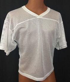 Adams Mesh Jersey M Youth Football Practice White V-neck Polyester Athletic #Adams