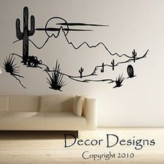 "Desert Scenery 28"" Wide by 16"" High Vinyl Wall Decal Sticker"
