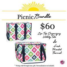 Get ready for picnicking this summer with this June 2017 bundle! #ThirtyOneGifts #morebagsplease #ZipTopOrganizingUtilityTote #FreshMarketThermal #CandyCorners #Organization