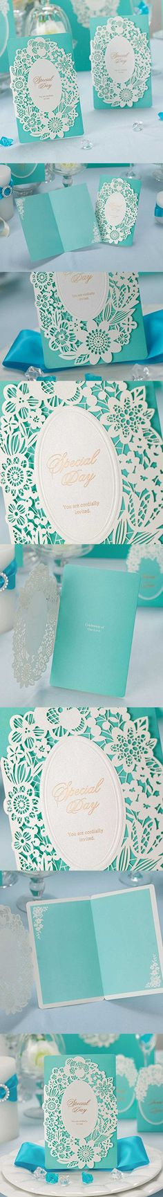 WISHMADE 50 Count Sets Laser Cut Tiffany Blue Wedding Invitations Cards Kits Printbale with Envelopes and White Lace