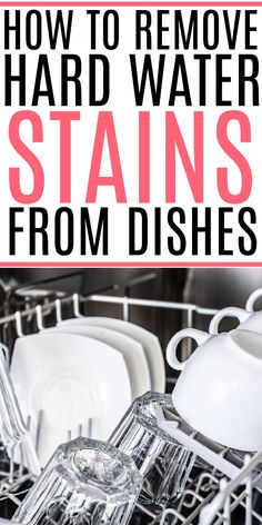 Tired of a white film on your glasses and dishes? Check out these easy tips to remove hard water stains from your dishes. No scrubbing needed! Deep Cleaning Checklist, Deep Cleaning Tips, Cleaning Recipes, House Cleaning Tips, Diy Cleaning Products, Spring Cleaning, Cleaning Hacks, Hard Water Stains, Kitchen Cleaning