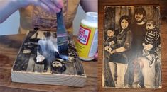Pictures transferred to blocks of wood. How-to video on website. Haven't tried yet, but this would be a creative way to personalize indoor decor.