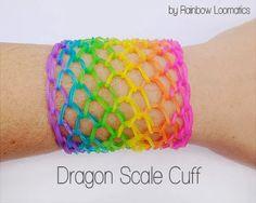 Rainbow Loom Patterns: Dragon Scale Cuff Rainbow Loom Pattern (youtube tutorial)