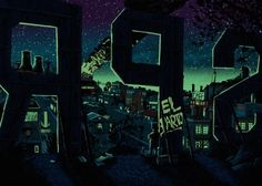 Springfield from The Simpsons Illustrated as a Dark and Moody Town
