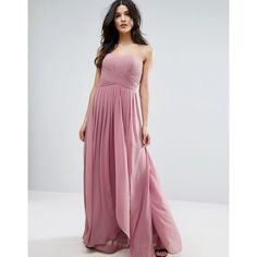 Y.A.S Molly Pink Dress (£135) ❤ liked on Polyvore featuring dresses, pink, pink chiffon dresses, chiffon maxi dress, pleated chiffon dress, sweetheart maxi dress and sweetheart neckline dress