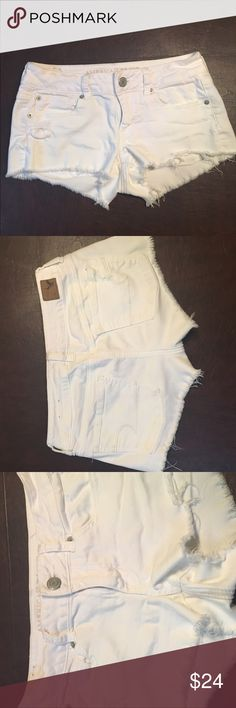 American Eagle white denim cut off shorts White denim cut off shorts. Size 4 super comfortable and stretchy. American Eagle Outfitters Shorts Jean Shorts