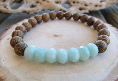 Amazonite and Thinwin Wood Tibetan prayer beads bracelet