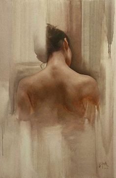 Artist: Liu Yuanshou [劉元壽] (Beijing b.1967), oil on canvas {figurative art female back grunge woman cropped painting drips}
