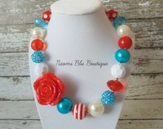 Dr Seuss Cat in the Hat Thing 1 Thing 2 Inspired Red White and Blue Striped Chunky Bubblegum Bead Necklace. Photography Photo prop. Birthday