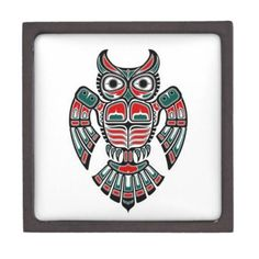 Red, Blue and Black Spirit Owl  I like this one
