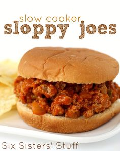 Slow Cooker Sloppy Joes from SixSistersStuff.com. Delicious with either ground beef or ground turkey!